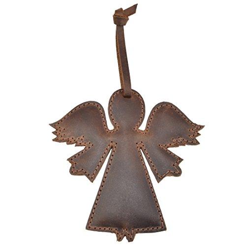 Hide & Drink Rustik Leder Engel Weihnachten Zum aufhängen Ornament Baumschmuck Handgefertigt von Bourbon Braun