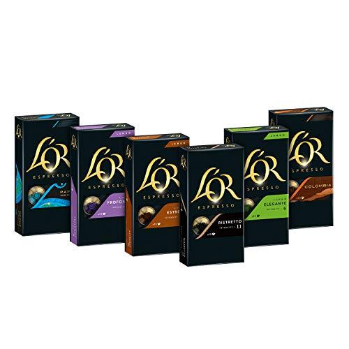 L'OR Kaffeekapseln, Probierbox mit 6 Sorten, 60 Nespresso®* kompatible Kapseln, 6 x 10 Getränke