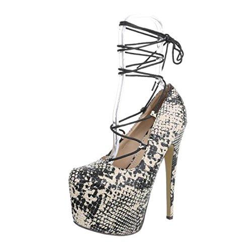 Cingant Woman Damen Pumps/Stilettoabsatz/High Heels/Damenschuhe/Elegante Schuhe/Plateausohle/Schlangenmuster/Grau, EU 39