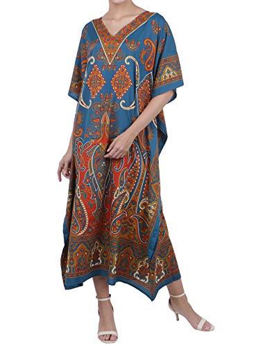 Miss Lavish London Frauen Damen Kaftan Tunika Kimono freie Größe Lange Maxi Party Kleid für Loungewear Urlaub Nachtwäsche Strand jeden Tag Kleider #102 [Teal EU 46-50] -