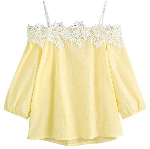 Damen Spitze V-ausschnitt 3//4 Arm Bluse Tops Tee T Shirt Loose Oberteile Neu FL