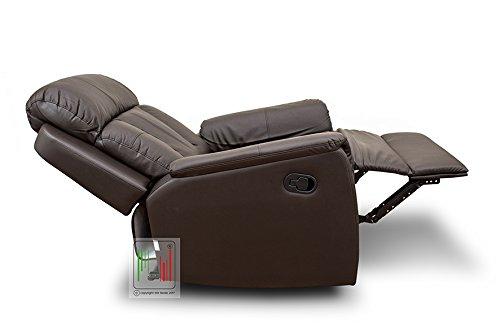 Poltrona reclinabile recliner in ecopelle relax per anziani con