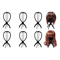 Ardisle 6 Set Black Wig Display Stand Mannequin Dummy Head Hat Cap Shop Holder Storage