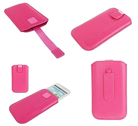 DFV mobile® - Pouch Case Lines Embossing & Belt Loop & Pull Tab Velcro for => QMOBILE A115 ATV > Pink