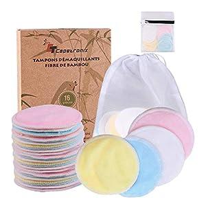 Waschbare Abschminkpads Wiederverwendbare Wattepads – 16 Abschminktücher aus Bambus & Baumwolle mit Wäschebeutel – Makeup Entferner Pads – Superweich Umweltfreundlich, Zero Waste für Gesicht Auge