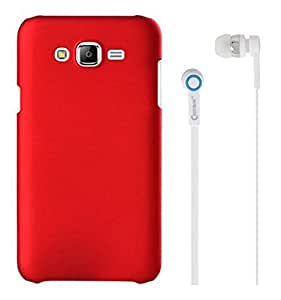 Chevron Rubberized Matte Hard Back Cover Case for Samsung Galaxy On5 With Chevron 3.5mm Stereo White Earphones (Red)