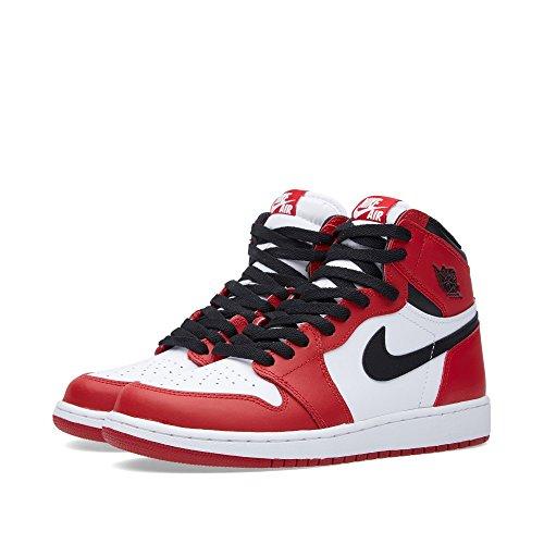 timeless design 4a6df 7bfa5 Nike Jungen Air Jordan 1 Retro High OG BG Basketballschuhe Weiß   Schwarz    Rot Weiß   SchwarzVarsity Red