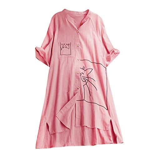 Zegeey Damen Kurzarm Oberteil T-Shirt Rundhals Ausschnitt Baumwolle Und Leinen Cat Drucken Asymmetrischer Saum Lose LäSsige Bluse Hemd Shirt Blusen Locker Basic Tops(A6-Rosa,M)