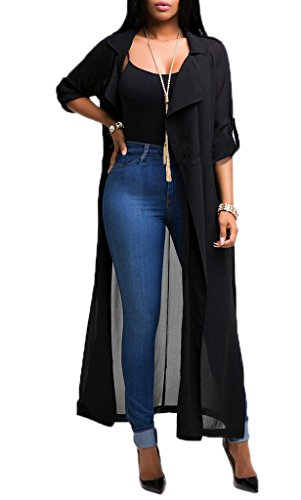 Smile YKK Cardigan Femme Mousseline de Soie Manteau Long Veste Ouverte Manches Longues Mode Noir