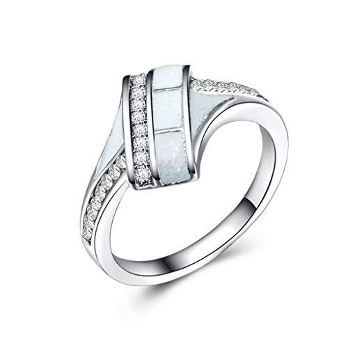 Ringe für Frauen Micro-Intarsien Strass Ringe (Farbe : Weiß, größe : 8) (Größe 8-hochzeit Ringe Für Frauen)