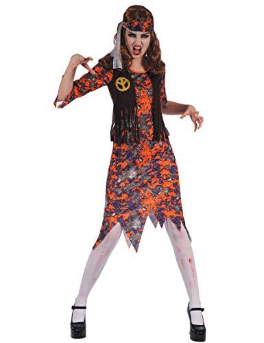 Generique - Kostüm Zombie Hippie für Damen S