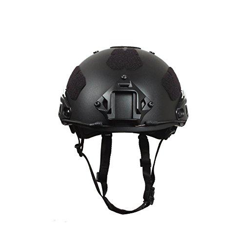 Outry Tactical Fast Helm, Verstellbarer ABS-Helm mit seitlichen Schienen und NVG-Halterung, schneller Ballistischer Helm für Airsoft Paintball Jagd Schießen Outdoor Sport, Schwarz -