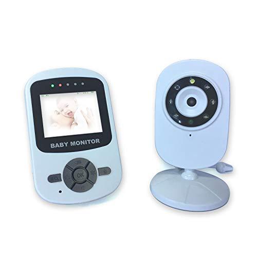 J&A Baby Monitor Kamera, 2,4 Ghz Wireless Long Range LCD Display Für Baby/Elder/Pet, Zwei-Wege-Gespräch/IR Nachtsicht/Temperatur-Monitor / 8 Lullabies Hellblau Long Range Ir