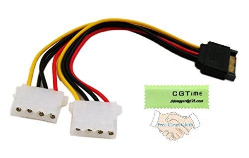 cgtime 15,2cm SATA 15-Pin Stecker auf Dual 4-Pin Molex LP4weiblich IDE Festplatte Power Y-Adapter Konverter Kabel, Male zu Female für 12V/IDE HDD DVD
