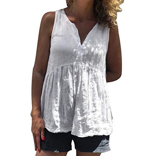 Frauen Damen Ärmelloses Festes Knopf V Ausschnitt Bluse Shirt Pullover Tops Top Mit V Ausschnitt Und Baumwollknopf -