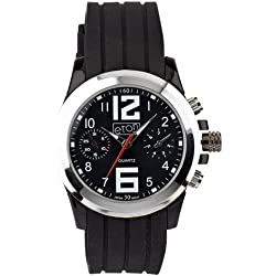 Mens Black Rubber Black Dial Chronograph Design Eton Watch - Gents Fashion Watch