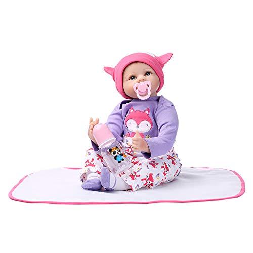 Lazder 55CM Silikon Lebensechte Puppe Decke Lila Kleidung Hut Fox Muster Frühen Kindheit Kinder Baby Spielzeug - Puppe Muster Kleidung