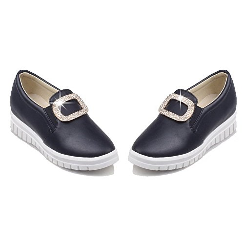VogueZone009 Femme à Talon Bas Mosaïque Tire Matière Souple Rond Chaussures Légeres Noir