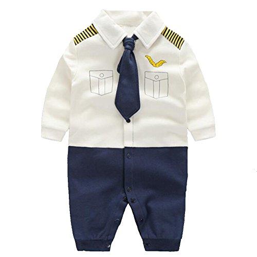 Fairy Baby Baby Outfits Langarm Strampler Jungen Smoking Baby Baumwolle Gentleman Outfit Bowknot Weihnachts/Taufstrampler Kleidung, 59(0-3 Monate), Weißer Kapitän