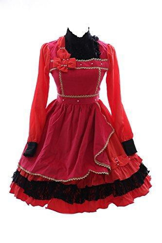 Victorian Samt (JL-644-2 rot burgund Samt Chiffon Rüschen Spitze langarm Kleid Victorian Classic Gothic Lolita Kostüm Cosplay Kawaii-Story (Gr. S))