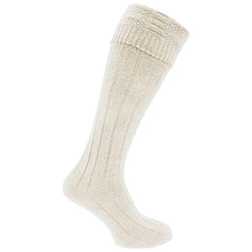 Calcetienes altos falda escocesa de lana Modelo Scottish Highland hombre caballero (1 par) (39-45 EU/Crema)