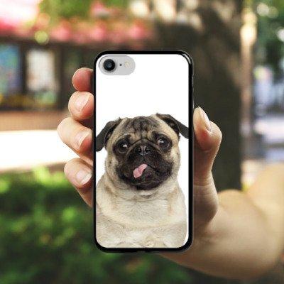 Apple iPhone 8 Plus Silikon Hülle Case Schutzhülle Mops Welpe Hund Hard Case schwarz