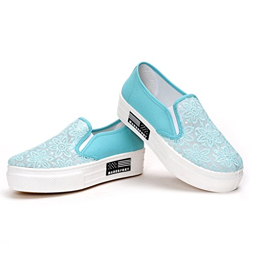 Oasap Women's Lace Slip-on Flat Platform Sneakers Blue