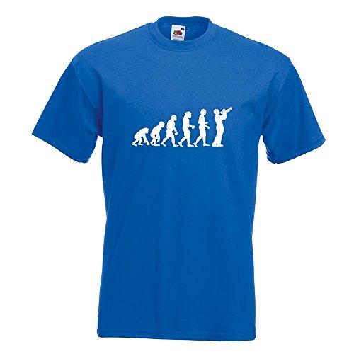 KIWISTAR - Evolution Trompetenspieler T-Shirt in 15 verschiedenen Farben - Herren Funshirt bedruckt Design Sprüche Spruch Motive Oberteil Baumwolle Print Größe S M L XL XXL Royal