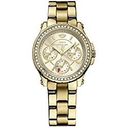 Juicy Couture Pedigree Women's Quartz Watch with Gold Dial Analogue Display and Gold Rose Gold Bracelet 1901105