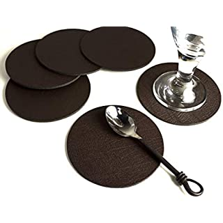 Giftag Set of 6 Artisan Brown Bonded Leather Round Coasters, Made In The UK, Drinks Mats