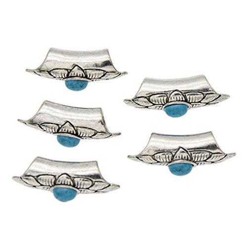 Dreadlocks Clips Spitze Perlen Haarschmuck Damen Herren Vintage Rot Blau ()