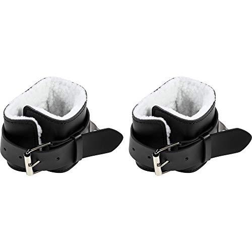 GORILLA SPORTS® Fußschlaufe Leder Schwarz 2er Set - Ankle Strap gepolstert für Kabelzug