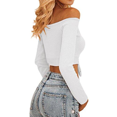 Baumwolle Shirt Damen, Sunday Arbeiten Sie Frauen Schrägstrich Hals Beiläufige T-Shirt Lange Hülsen Kurzschluss Neue Entwurfs Spitzen Bluse (Weiß, S) (Ärmellos Entwurf)