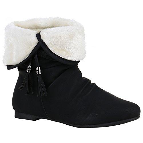 Bootsparadise Stivaletti Donna Stivaletti Foderati Stivali Bassi Antiscivolo Zeppe Stivali Stivali Zeppa Scarpe Tacco Fiandre Nappe Nere