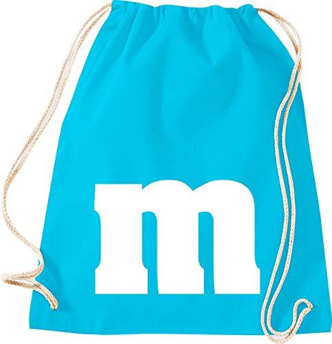 M&m Kostüm Beutel - Shirtstown Turnbeutel, Karneval Fasching Gruppe M JGA Partner Paar Kostüm Verkleidet, Tuerkis