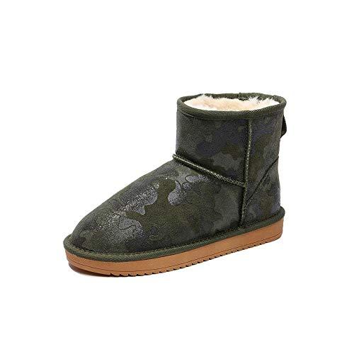 FF Schneeschuhe Männlichen Paar Kurze Röhre Hohe Hilfe Warmhalten Plus SAMT Brot Schuhe Baumwolle Schuhe Rutschfeste Booties Wasserdichte Baumwolle Stiefel (Farbe : Green, Size : EU41/UK7.5-8/CN42)