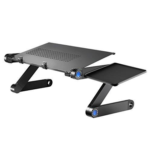 OCDAY Escritorio de ordenador portátil,escritorio de pie, mesa para cama y sofá escriterio plegable ajustable de ordenador refrigeración CPU con alfombrilla de ratón bandeja ergonómica negro