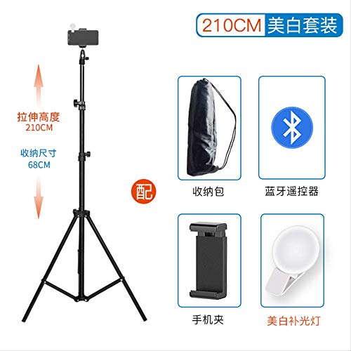 Z&J Halterung Stativ Foto Stativ Clip Shooting Frame füllen Licht Outdoor-Tablet-Unterstützung tragbaren Boden Bluetooth-Fernbedienung Multifunktions 2,1 Meter weißes Set