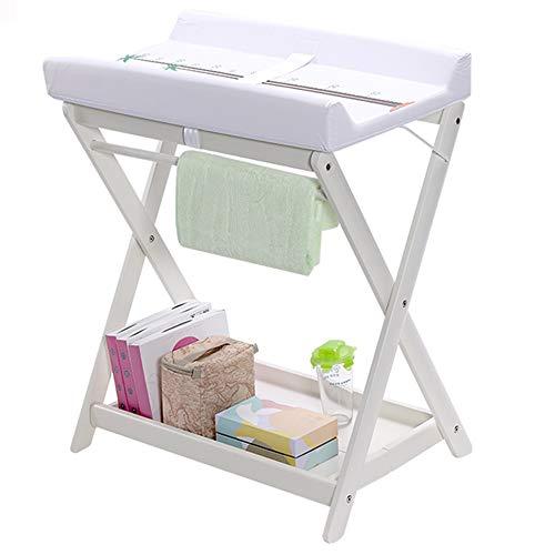 HANSHAN Wickeltische WickeltischE, Multifunktions-Pflegetisch Badetisch Tragbarer Klappspeicher Weiß Geeignet Für 0-8 Monate 26 × 20 × 31 Zoll