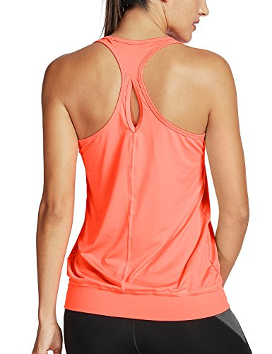 SYROKAN Damen Sport T-Shirt Tank Top - Ringerrücken Gym Elastische Fitness Orange 36 (XS)