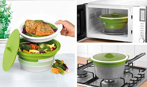 Salter bw06259duosteam Gesund Mikrowelle Gemüse/Fleisch und Fisch Dampfgarer, Carbon Stahl mit Silikon Deckel, grün, 26,4x 24x 12,2cm