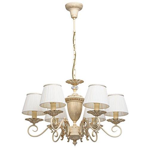 MW-Light 450014106 Klassischer Antiker Kronleuchter 6 Flammig Metall Beige Goldfarbig Weiße Textilschirme Landhausstil 6 x 40W E14 -