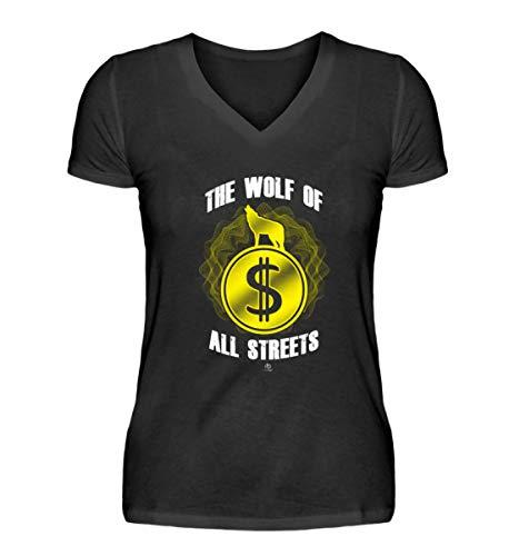 The Wolf of All Streets Dolar USD Geld US-Dolar Kurs Exchange Rate Geschenk Geschenkidee - V-Neck Damenshirt - Geld Exchange Rate