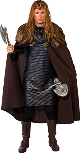 Fasching Umhang braun mit Fellbesatz - Ritter oder Wikinger