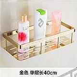 T-YSPJ Kupfer-Badezimmerregal mit Haken Badezimmer perforiert einlagiges Ablagefach Wandbehang für Badezimmer, Gold 40 cm