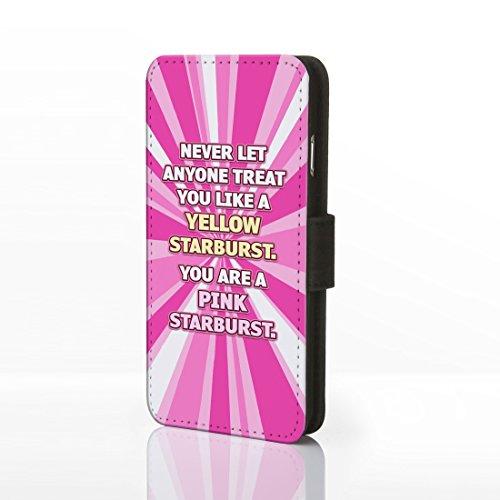 Schutzetui mit lustigem bekannten Zitat, Kunstleder, für iPhone, Kunstleder, 1. Happy Girls are the Prettiest - Audrey Hepburn, iPhone 5/5S 5. Pink Starburst
