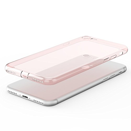 esorio® Apple iPhone 7 Hülle Case mit Kameraschutz + Lightning Staubschutz in transparent rosegold