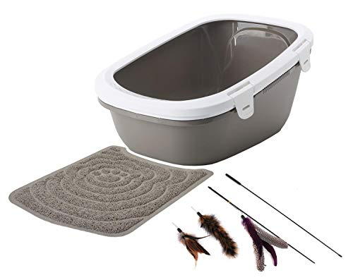 PETGARD Sparpaket Katzentoilette Simba mit Sieb + Vorlegematte + gratis Katzenangel warmgrey-Weiss