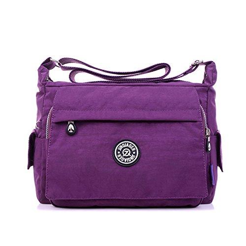 Outreo Umhängetasche Damen Schultertasche Mode Taschen Designer Messenger Bag Leichter Kuriertasche Wasserdicht Reisetasche für Sporttasche Lila