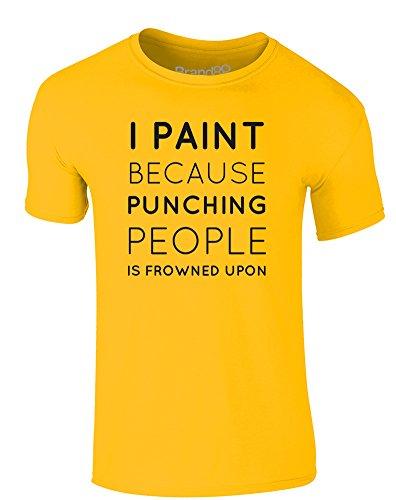 Brand88 - I Paint Because..., Erwachsene Gedrucktes T-Shirt Gänseblümchen-Gelb/Schwarz